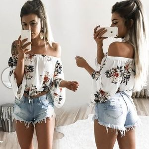 Floral Off The Shoulder Blouse With Neck Tie NWT!